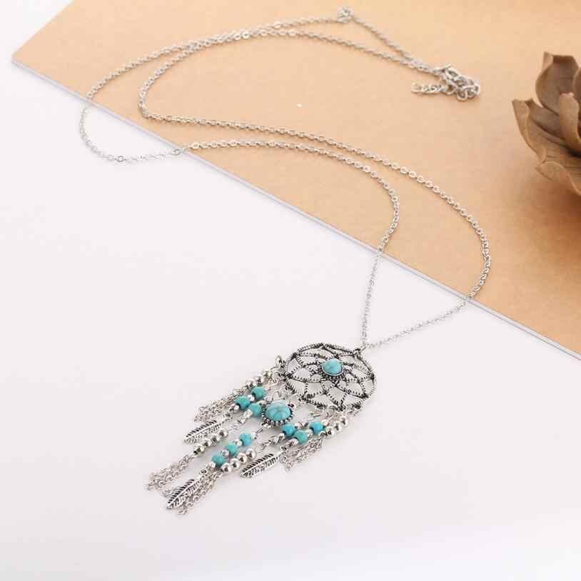 Kuziduocai Baru Fashion Perhiasan Menangkap Mimpi Mesh Bentuk Beaded Daun Rantai Panjang Kalung Liontin untuk Wanita Colgantes Collier