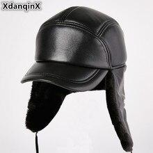XdanqinX Genuine Leather Hat Winter Mens Bomber Hats Extra Thick Plus Velvet Warm Sheepskin Earmuffs Cap For Men