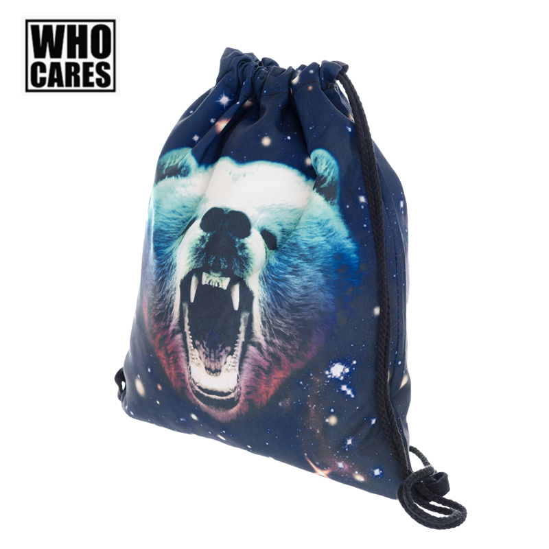 Galaxy Grizzly Bear Printing Backpack Who Cares Men Travel Drawstring Bag Fashion Women Shopping Back Pack Casual Schoolbags