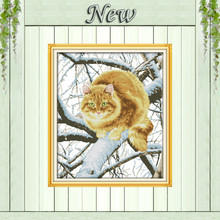 Gato gordo na árvore decor pinturas contado impresso em lona DMC 14CT 11CT Ponto Cruz Chinesa Needlework Define Bordado kits(China)