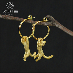 Lotus fun real 925 sterling silver natural creative handmade fine jewelry cute kung fu cat drop.jpg 250x250
