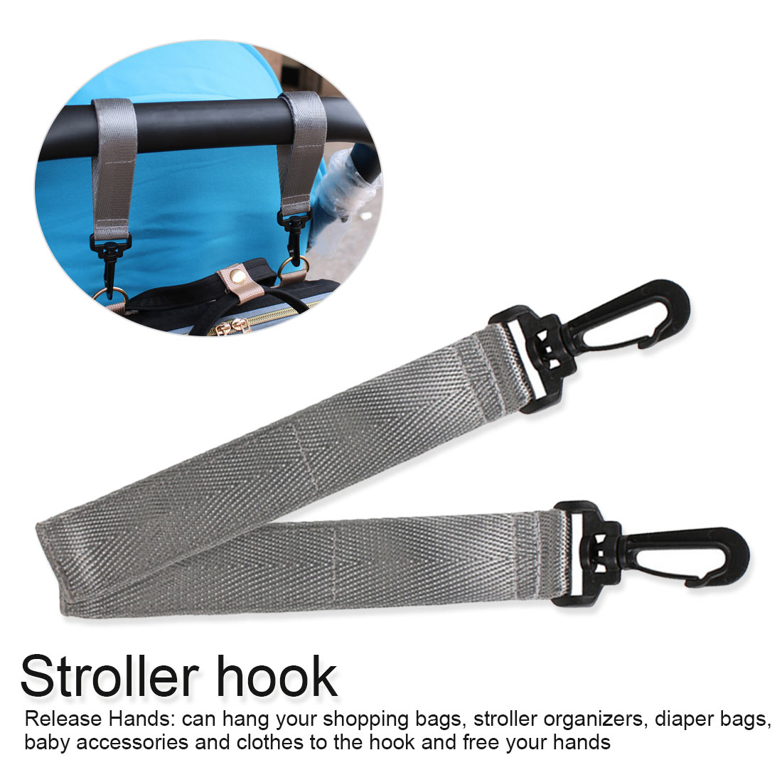 New 2pcs Wheelchair Stroller Hooks Pram Carriage Bag Hanger Hook Baby Strollers Shopping Clip Accessories