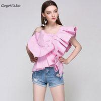 Sexy Pink Irregular One Shoulder Ruffles Shirts 2017 women striped Open Shoulder Backless OL Blouse tops LT352S20