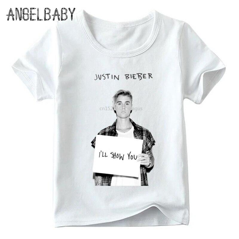 Boys And Girls Hip Hop Justin Bieber Print T Shirt Kids Summer Short Sleeve Tops Children Casual White T-shirt,ooo2236