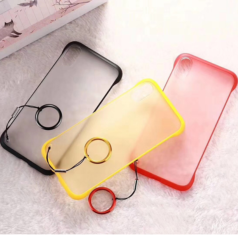 Luxury Simple Solid Color Phone Case For iPhone 7 6 6s 8 Plus X XR XS Max Ultrathin Soft Matte Case Back Cover Ring Lanyard in Fitted Cases from Cellphones Telecommunications