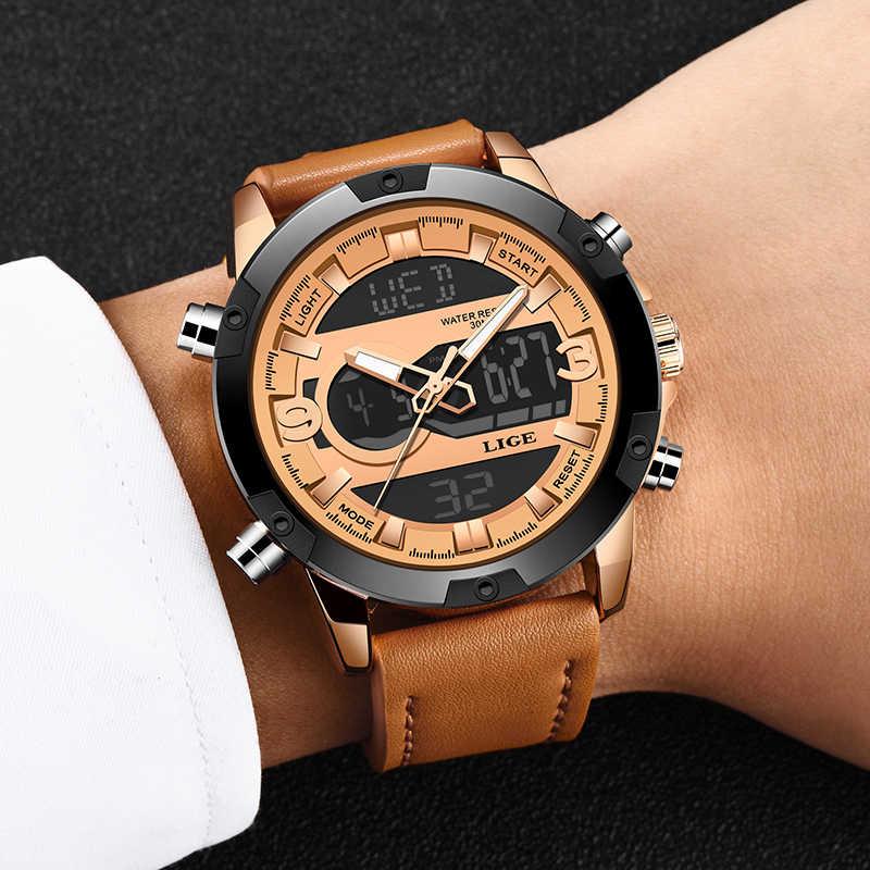 2019 nuevos relojes para hombre, reloj deportivo de marca de lujo, reloj de cuarzo de cuero impermeable Digital para hombre, reloj Masculino