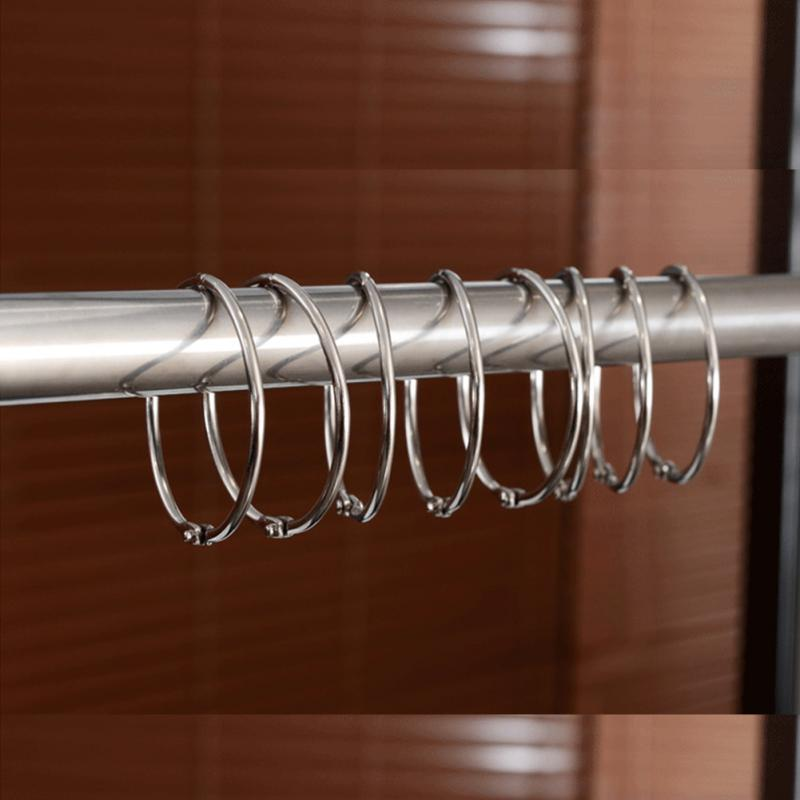 Us 2 68 10 Off 12pcs 45mm Shower Curtain Ring Rustproof Hooks Glide Metal Rings For Bathroom Rods Curtains In