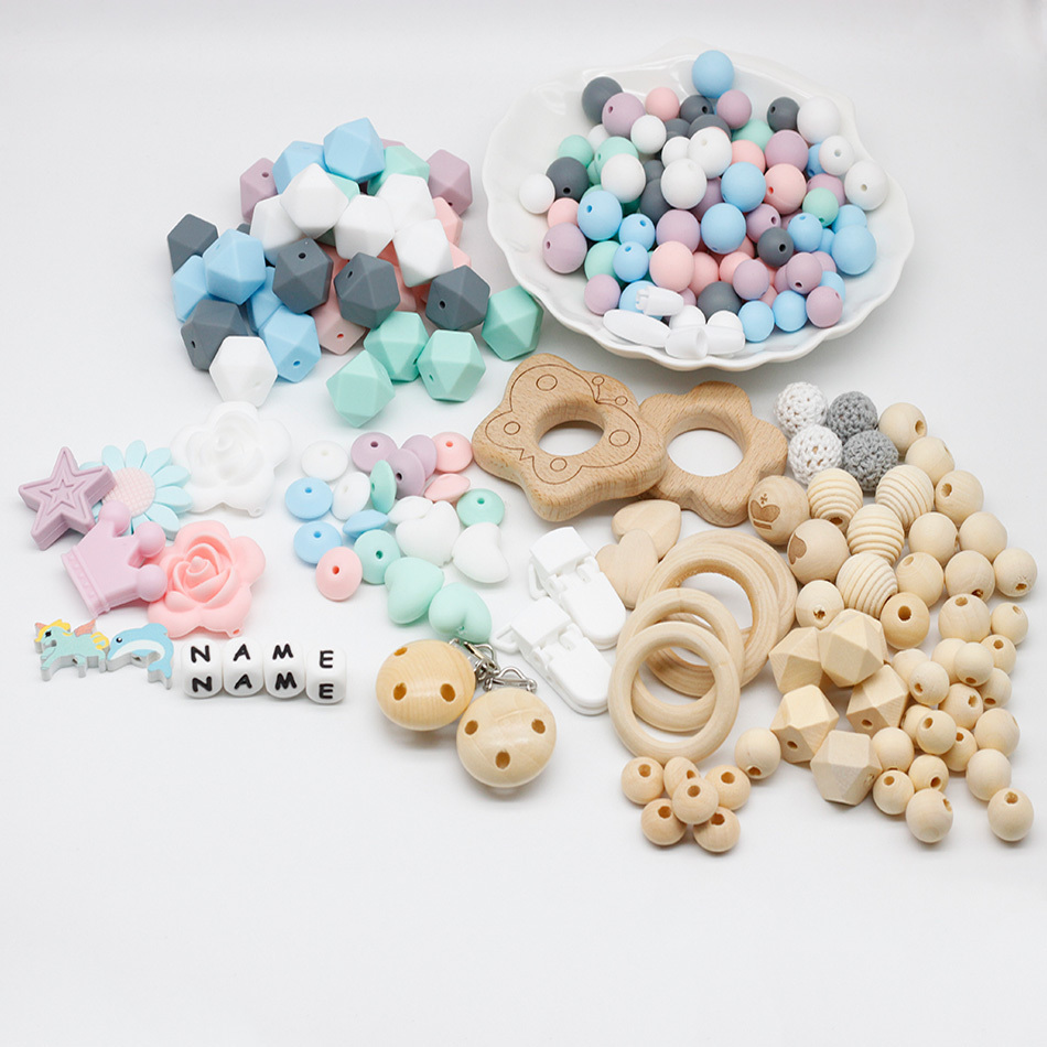 Silicone Teether Sets DIY Teething Necklace Beads Bracelet Made Accessories Food Grade Silicone Beads Baby Personalized Name