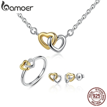 BAMOER Genuine 925 Sterling Silver Bridal Heart to Heart Jewelry Sets Silver