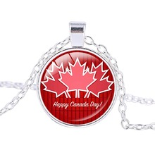 New Arrival High Quality Canadian Flag Logo Necklace Canada Day Celebration Pendant Silver Plated Charms Jewelry(China)