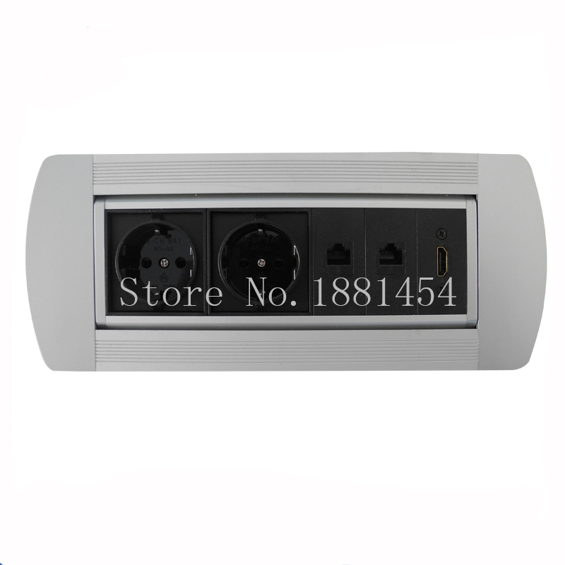 2*European power and 1*HDMI and 2*data Manual desktop socket ,Furniture table socket ,suit for meeting room / residential