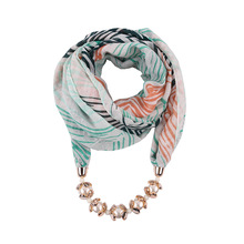 printed ring scarfs pendant jewellery shawls stripe summer necklace scarf viscose mujer CCB pearl fashion