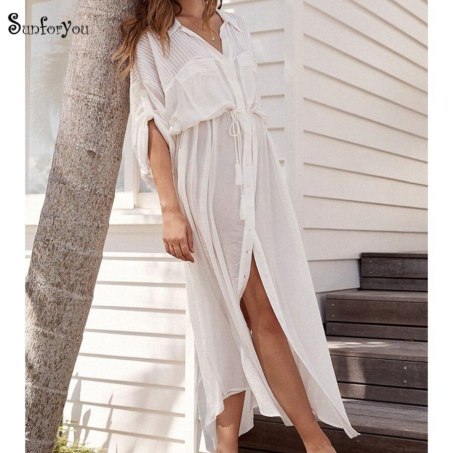 2020 Cotton Maxi Beach Dress White Beach Cover Up Ropa De Playa Beach Pareo Tunic Bikini Cover Up Kaftan Beach Swim Cover Up