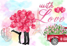 7x5FT 2 Style Pink Balloons Flowers Pickup Love Heart Valentine Day Wedding Custom Photo Backdrop Background Vinyl 220cm x 150cm(China)
