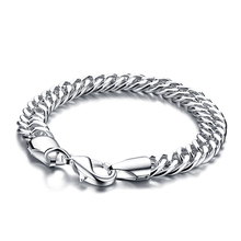 Genuine sterling silver men's bracelet .100% solid 925 silver 10mm 20cm whip bracelet. Wholesale fashion men silver jewelry gift