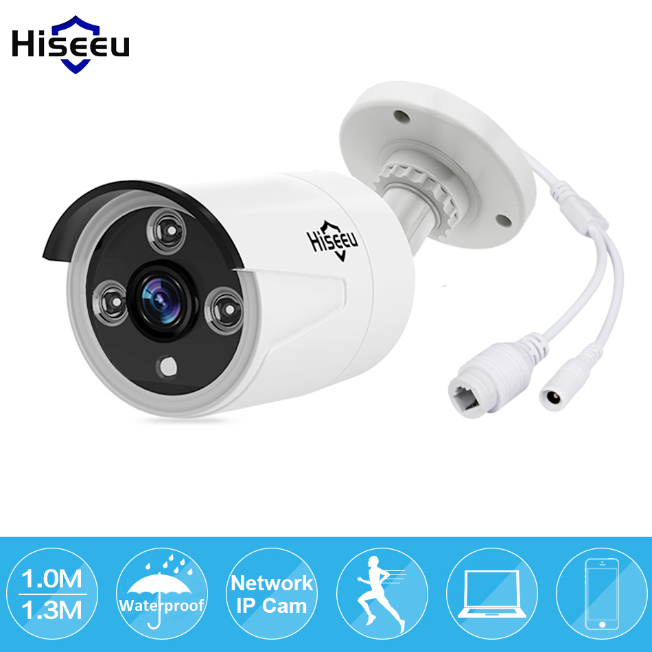 HD 720P 960P 1/1.3MP Mini Bullet IP Camera POE ONVIF Waterproof IP66 Outdoor IR CUT Night Vision P2P Hiseeu 1280 720p 1mp onvif poe bullet ip camera outdoor waterproof p2p ir cut filter network camera mini night vision cctv security cam