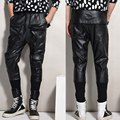 2016 Fashion faux leather harem pants men drop crotch pants men baggy pants casual fashion elastic waist pants Free shipping