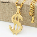 Tino Carlo New Arrive Men's Dollar $ Sign Pendant Necklace Glod Plated S.Steel Women's Rich $ Letter Necklace Drop Ship Jewelry