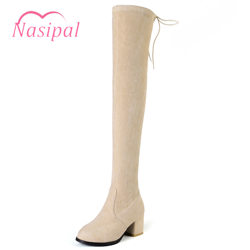 Nasipal Women Over The Knee Boots Stretch Long Boot Chunky High Heel Lace Up Thigh High Boots Sock Botas Mujer Black Beige M644 black stretch fabric suede over the knee open toe knit boots cut out heel thigh high boots in beige knit elastic sock long boots