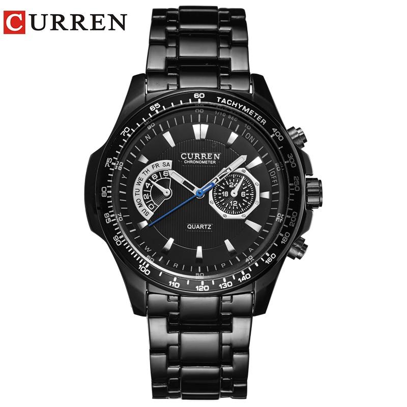 Curren Кварцевые Черный Vogue Бизнес Военная Униформа человек мужские часы 3ATM водостойкий челнока 8020 Relogio