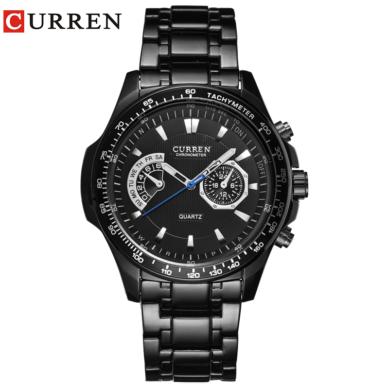Curren quartz Black  Vogue Business Military Man Men's watches 3ATM waterproof Dropship 8020 Relogio-in Quartz Watches from Watches