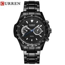 Curren quartzo preto vogue negócios militar homem relógios masculinos 3atm à prova ddropágua dropship 8020 relogio