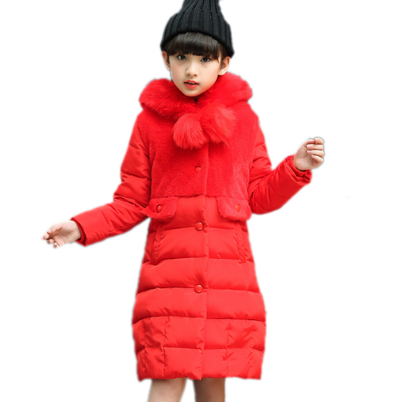 girl winter jacket thicken warm kids clothes solid long section girls cotton padded coat single breasted hooded girls snowsuit warm thicken baby rompers long sleeve organic cotton autumn