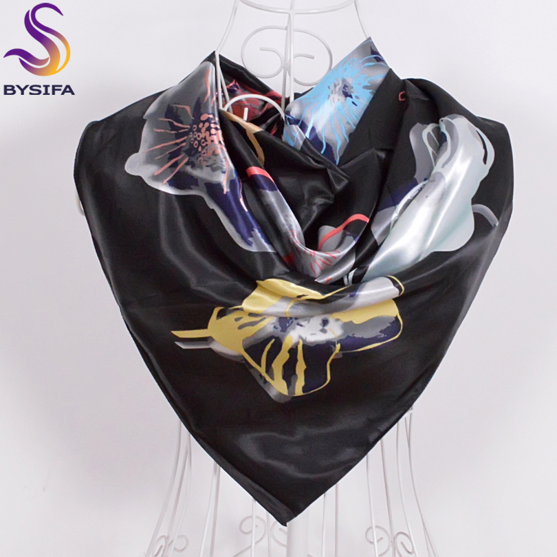 [BYSIFA]Women Men Black Silk Scarf Shawl New Design Spring Autumn Accessories Ladies Genius Flowers Satin Scarves Wraps 90x90cm