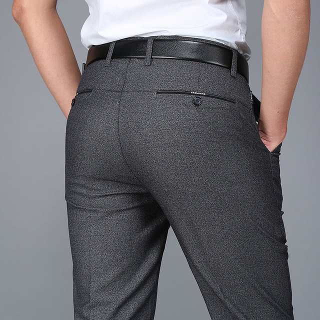 2017 Marca el Verano Delgada Pantalones Casuales Hombres Del Banquete de Boda de Negocios Pantalones Formales Pantalones de Traje Pantalones Rectos Flojos Hombre Plana