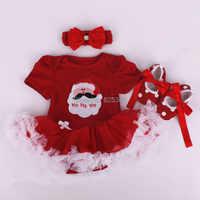 Detal 2018 śpioszki dla niemowląt na boże narodzenie ubrania dla dzieci dziewczynka ubrania z opaską do włosów i buty Cartoon garnitur dziewczyny boże narodzenie kostiumy