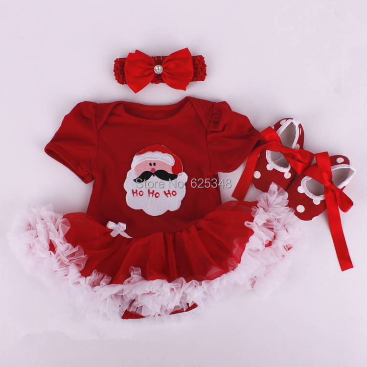 Retail 2017 baby rompers for christmas clothes baby girl clothes with hair band and shoes Cartoon