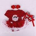 Varejo 2017 do bebê macacão para roupas de natal roupas de menina com faixa de cabelo e sapatos Dos Desenhos Animados do bebê terno meninas trajes de natal
