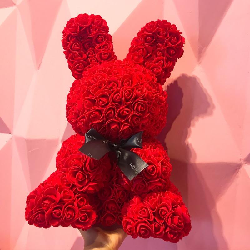 48cm Easter bunny simulation rose rabbit Animal shape Rose Lovely Gift Easter home decoration