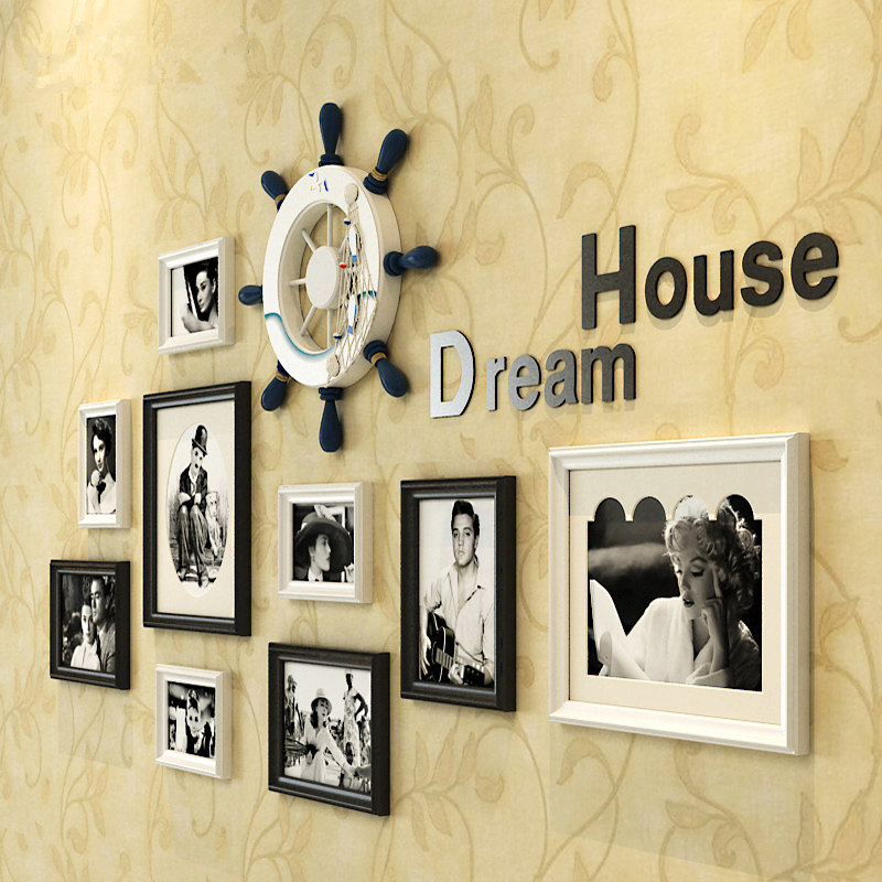 9 piecesset cheap home wall decoration photo frame sets whith wheel europe style