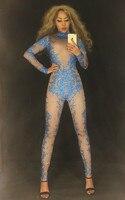 Женский Блестящий Комбинезон с синими камнями, сексуальный костюм для танцев телесного цвета, Цельный боди для ночного клуба, вечерние легг