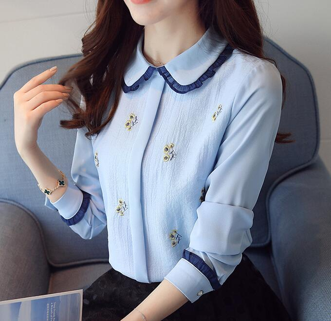 Free Shipping High Quality 2017 Autumn New Arrival Peter Pan Collar Flower Embroidery Long Sleeve Woman Chiffon Blouse Sky Blue