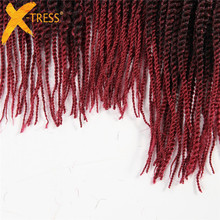 X-TRESS Synthetic Senegalese Twist 3Pcs/Pack 18 20 22inch Heat Resistant Ombre Braiding Hair Extensions 81Strands Crochet Braids