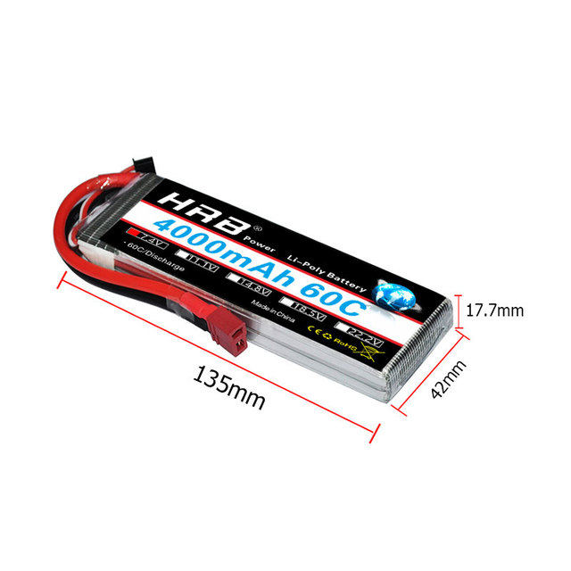 US $21 47  HRB 2S 3S 4S 5S 6S Lipo Battery 4000mAh 60C for RC E flite  Carbon Z Scimitar 550 Helicopter Quadcopter Airplane RC Car-in Parts &