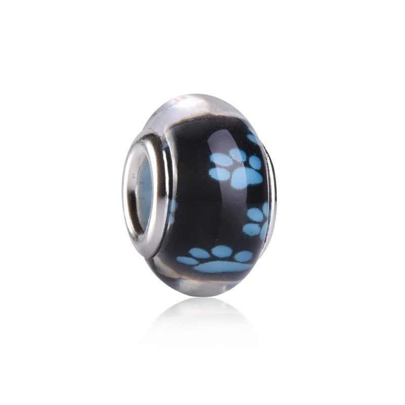 Черный фон собачьи ножки круглые полимерные пластиковые бусины амулеты большая дыра для европейской Пандоры DIY ювелирный браслет, ожерелье цепь