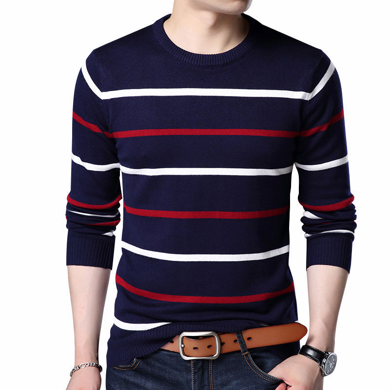 Pullover Men Clothing Slim-Fit Wool Autumn Striped Casual Winter New Round-Collar Brand