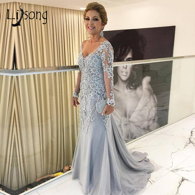 Vintage Lace Beaded Mermaid Evening Dresses With Full Sleeves V-neck Long Prom Gowns Plus Size Formal Dress Abendkleider 2018