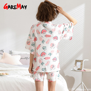 Image 5 - Home Suit White Pajamas Cotton For Women Summer With Print Soft Short Sleeve Top Cute Womens Pajamas Pants Sets Sleepwear