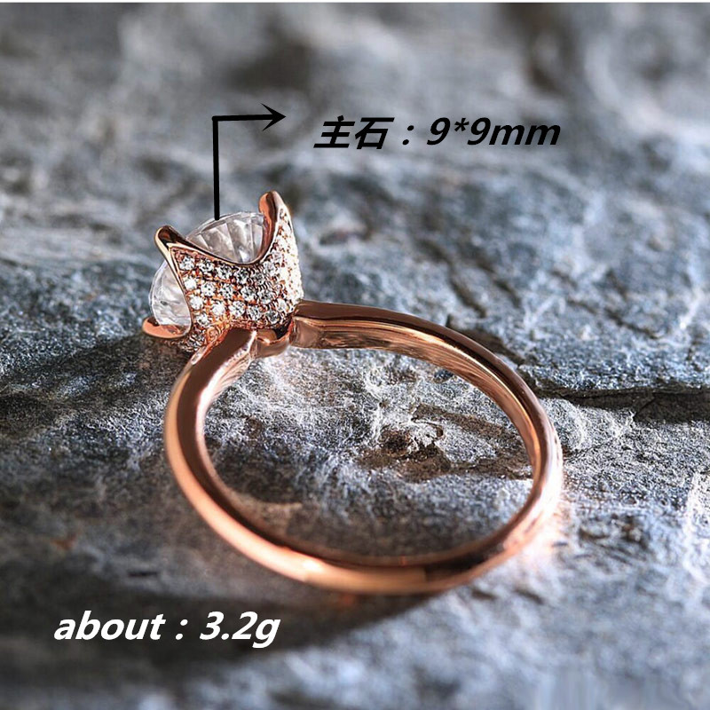 Silver 925 ring gold Costume jewelry rose gold rings Diamond ring classic four claw simulation zircon Indian jewelry Opal B2559 in Rings from Jewelry Accessories