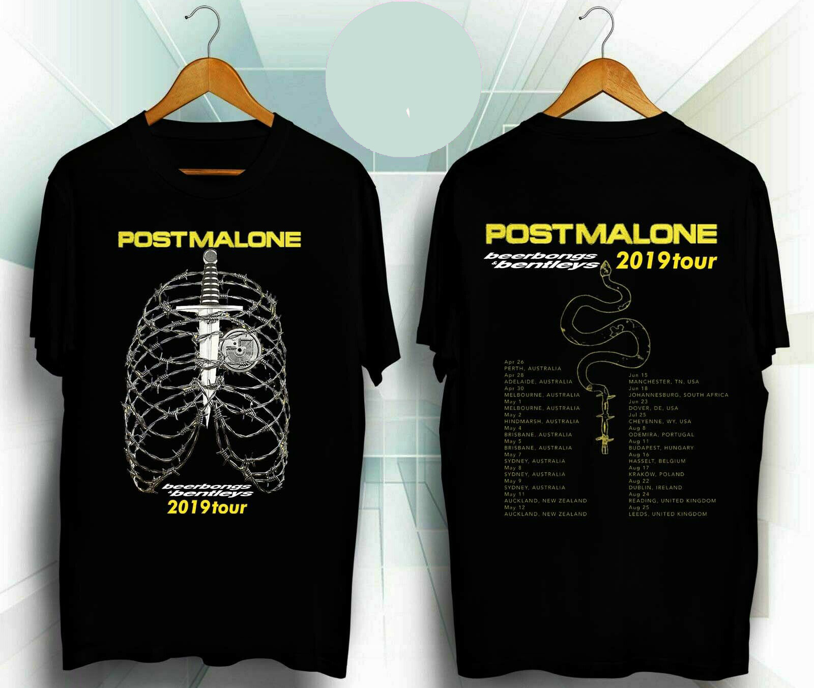 BEST Post Malone Beerbongs & Bentleys Tour 2019 Men's Black T-Shirt S-3XL Hip Hop Clothing Cotton Short Sleeve T Shirt Top Tee
