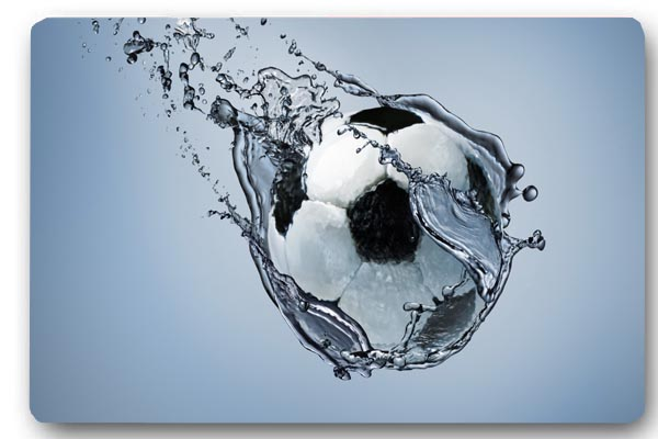 Custom Front Door Mat Football Ball Water Anti Slip Kitchen 40x60cm Floor  Mat Bathroom Mat Decorative Kitchen Rugs