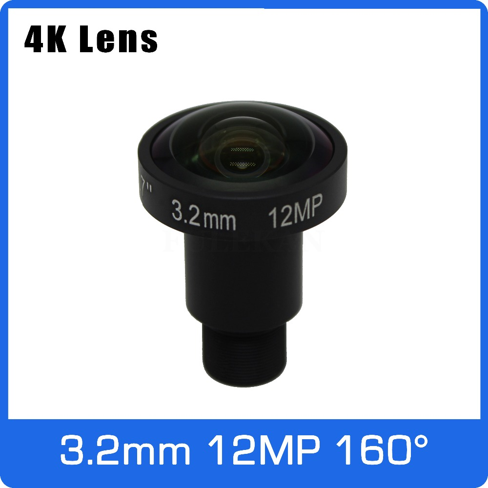 4K Lens 12Megapixel Fixed M12 Lens 3.2mm 160 Degree 1/1.7 Inch For IMX226 4K IP CCTV Camera Or 4K Action Camera Free Shipping