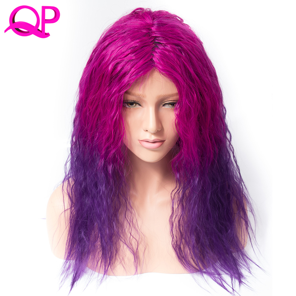 Qp Hair Afro Kinky Straight Kanekalon African American Medium Length Purplish Red Ombre Violet Cospaly synthetic Wig