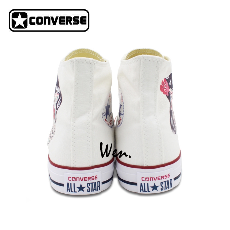 Men Women Converse Chuck Taylor White Canvas Shoes Femal Male Mexican Skull  Tattoo High Top Sneakers 1ba6d80a6d