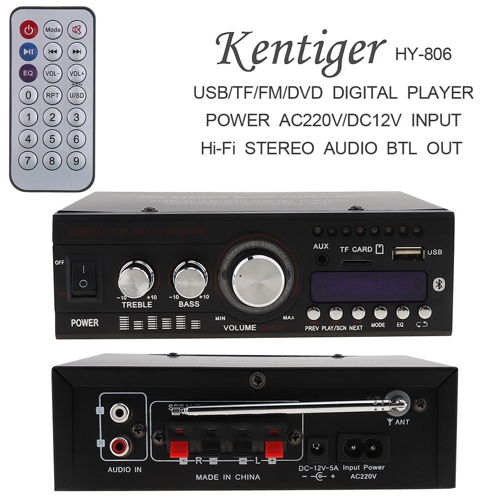 DC12V AC 220V 110V Bluetooth Auto Car Stereo Power Amplifier 2CH HiFi Digital Audio Player Support USB SD FM Radio DVD
