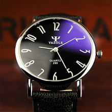YAZOLE lovers Watch women men Leather Clear digital scale round dial clock waterproof Blue glass new brand  Quartz Watches